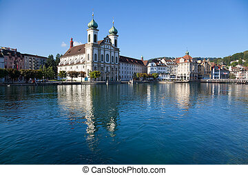 Lucerne city in Switzerland landscape. Wide angle view.