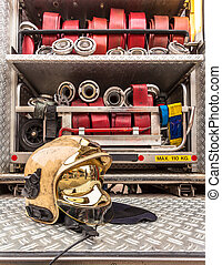 Modern Golden Fire Brigade Helmet with Hoses - Helmet and...