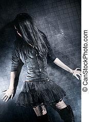 Goth woman fashion. On black wall background.