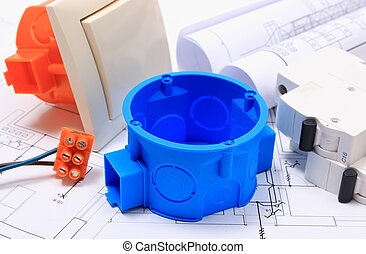 Components for electrical installations and rolls of diagrams