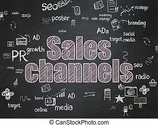 Advertising concept: Sales Channels on School Board background
