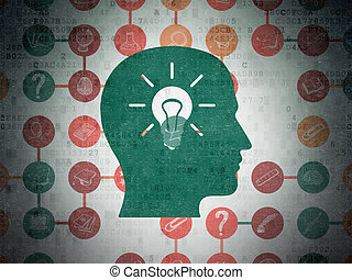 Education concept: Head With Light Bulb on Digital Paper background