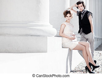 Young couple fashion Bright white colors
