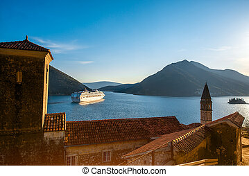 Kotor bay - View on Kotor bay from Perast city with cruise...