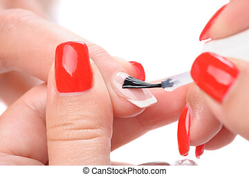 manicure, applying clear enamel - manicure applying,...