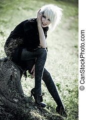 Goth woman outdoors Freaky concept
