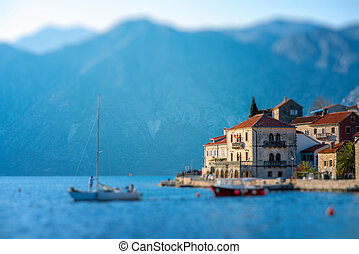 Perast city in Kotor bay on the sunset with beautiful...