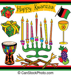 Kwanzaa clipart elements and icons - Colorful Kwanzaa...