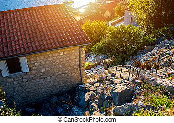Living buildings in Perast city - Living buildings with...