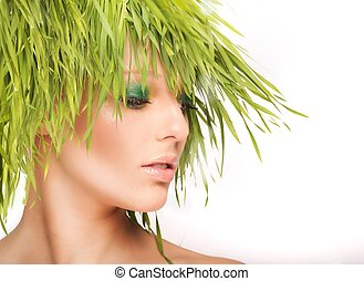 Nature beauty with fresh grass - Nature beauty woman with...