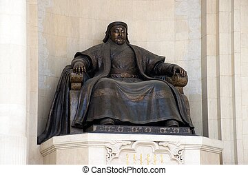bronze statue of the great emperor - Genghis Khan -...