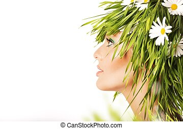 Nature beauty with fresh grass and chamomile - Nature beauty...