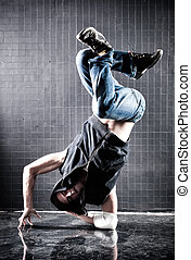 Young man modern dance. Contrast colors.