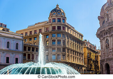 Fountain in Piazza de Ferrari - Genoa, Italy