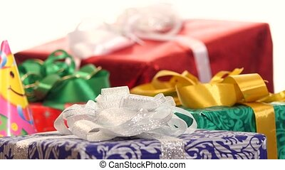 Lot of boxes, gifts tied with ribbons and bows isolated on...