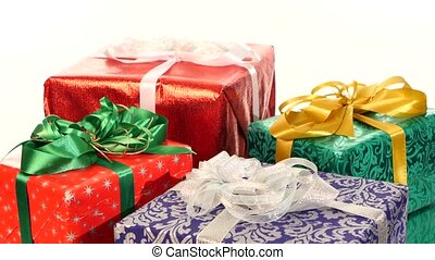 Different boxes, gifts tied with ribbons and bows isolated...