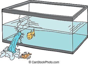 Worried Fish in Broken Tank - Isolated cartoon of worried...