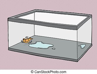 Single Fish Suffocating - Cartoon of pet goldfish dying in...