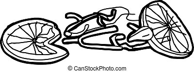 Outline of Crushed Bike - Outline of crushed bicycle over...
