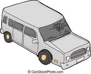 SUV With Shattered Windshield - Isolated cartoon SUV...