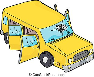 Yellow SUV With Broken Windshield - Hand drawn yellow SUV...