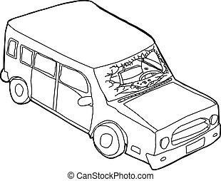 Outline of Vandalized Windshield - Hand drawn cartoon...