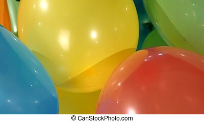 Different multicolored balloons, rotation, close up
