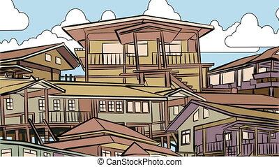 Dusk housing animation - Animated illustration of the light...
