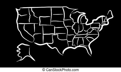 USA sketch map wiggle - Wiggling rough sketch map of the USA...