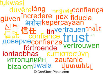 Trust multilanguage wordcloud background concept