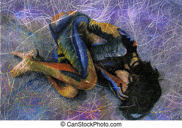 Abstract Female - Painted woman in fetal position. Textural...