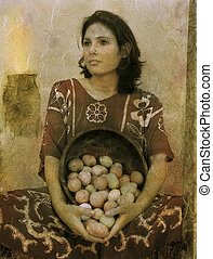 Fertility - Woman with eggs textural photo illustration and...