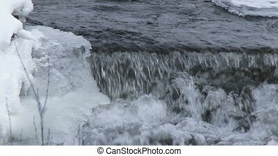 Stream of water in winter - Water flowing in small river in...