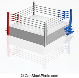 Boxing Ring - 3D boxing ring with red and blue corner
