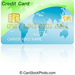 Green credit card with shadow over wite background. Vector illus