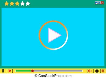 Video movie media player interface. Vector  illustrations