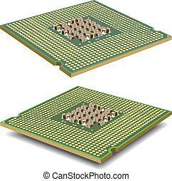 Computer  processor microcircuit isolated on a white background.