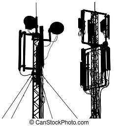 Silhouette mast antenna mobile communications. Vector illustrati