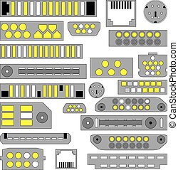 Vector video, audio and telephone connectors