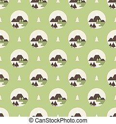 logo of the mountains pattern - Seamless pattern with logo...