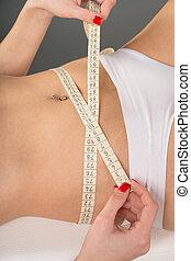waist circumference - Woman measuring her waist...