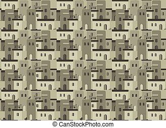 Arab houses pattern - Seamless pattern with Arab houses...