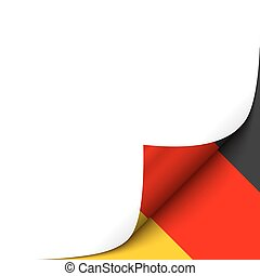 Curled Paper Corner with Germany Flag Background. Vector...
