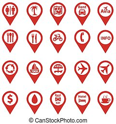set of navigation icons on travel cards