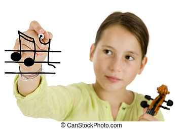 young girl writing with a pen and holding a violin isolated...
