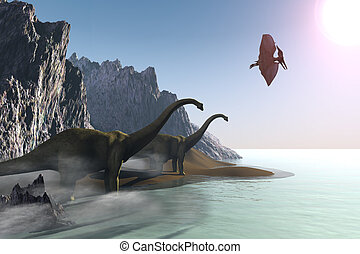 PREHISTORIC WORLD - Two dinosaurs come to the shore for a...