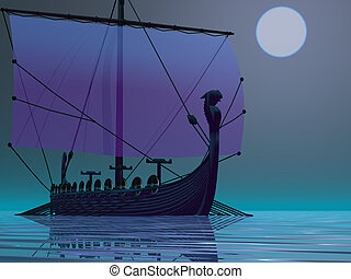 VIKING JOURNEY - A Viking ship sets out on one of their...