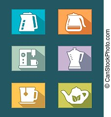set icons for tea and coffee