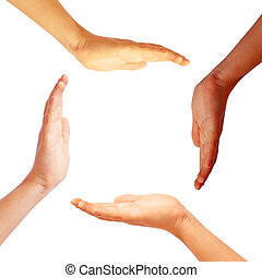 Hands circle on white background