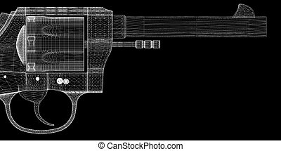 gun, pistol on background, body structure, wire model